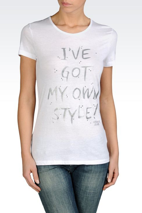 PIMA COTTON JERSEY T-SHIRT WITH LETTERING: Print t-shirts Women by Armani - 1
