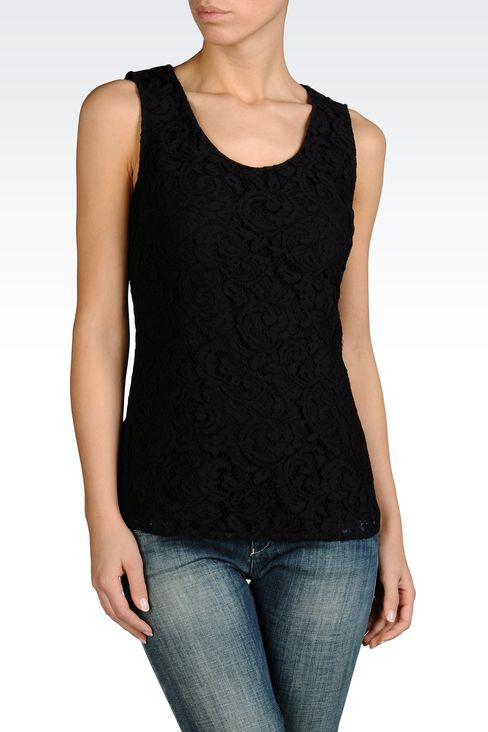 SLEEVELESS BLOUSE IN COTTON LACE: Sleeveless tops Women by Armani - 1