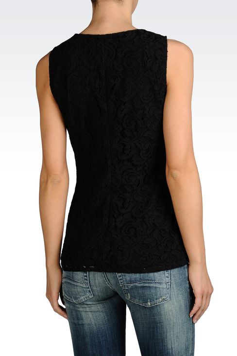 SLEEVELESS BLOUSE IN COTTON LACE: Sleeveless tops Women by Armani - 2