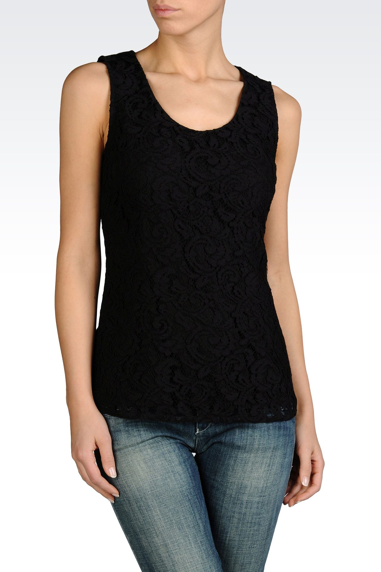 SLEEVELESS BLOUSE IN COTTON LACE: Sleeveless tops Women by Armani - 0