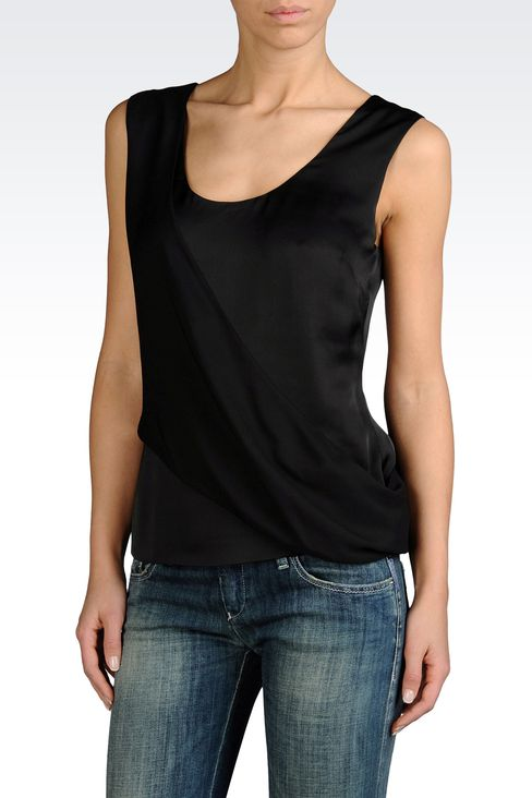 MOCK WRAP TOP IN TECHNICAL SATIN: Sleeveless tops Women by Armani - 1