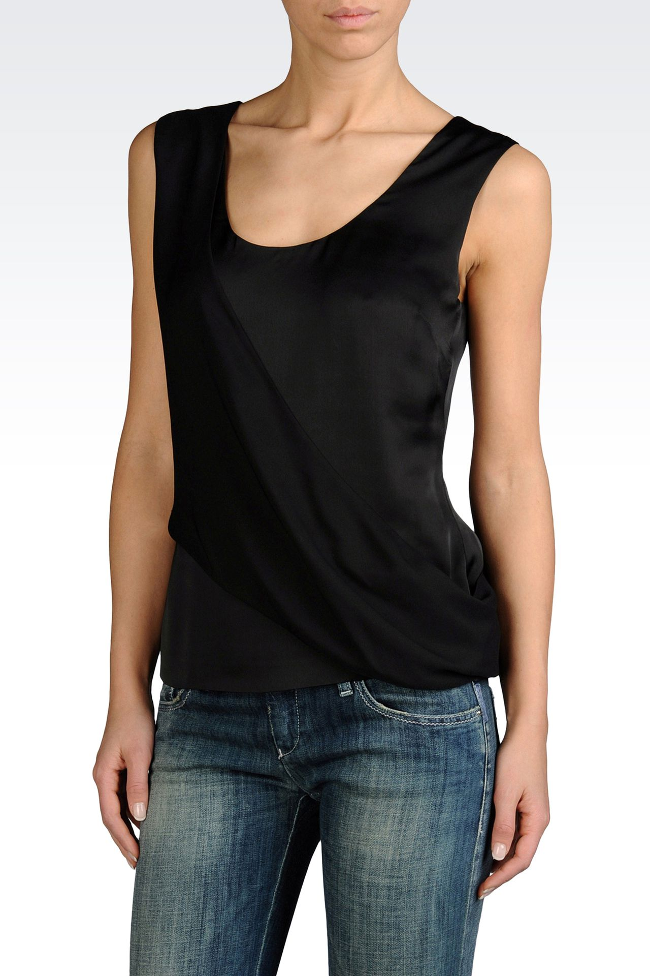 MOCK WRAP TOP IN TECHNICAL SATIN: Sleeveless tops Women by Armani - 0