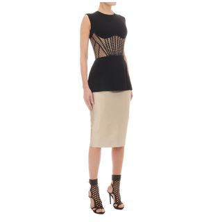 ALEXANDER MCQUEEN, Silk Top, Honeycomb Mesh Corset Top