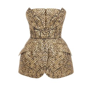 ALEXANDER MCQUEEN, Silk Top, Bee Honeycomb Bombe Hip Bustier