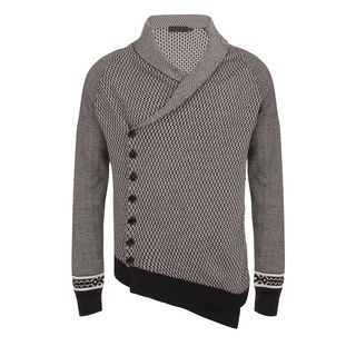 ALEXANDER MCQUEEN, Cardigan, Diamond Fair Isle Asymmetric Cardigan