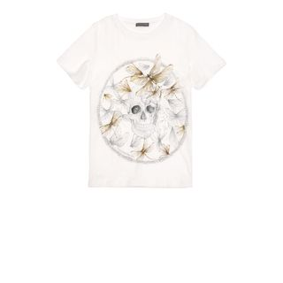 ALEXANDER MCQUEEN, T-Shirt &amp; Tank, Dragonfly Circle Print Skull Boxy T-Shirt 