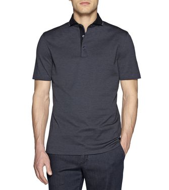 ERMENEGILDO ZEGNA: Short-sleeved Polo Slate blue - 37475115PA