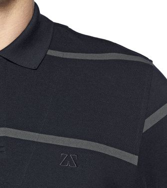 ZEGNA SPORT: Short-sleeved Polo Black - Steel grey - Blue - 37475117KK