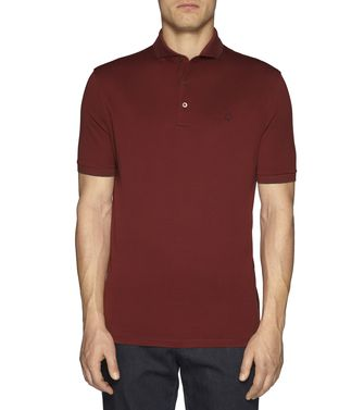 ERMENEGILDO ZEGNA: Short-sleeved Polo Maroon - Grey - 37475123WV