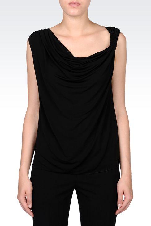 DRAPED JERSEY TOP: Sleeveless tops Women by Armani - 2