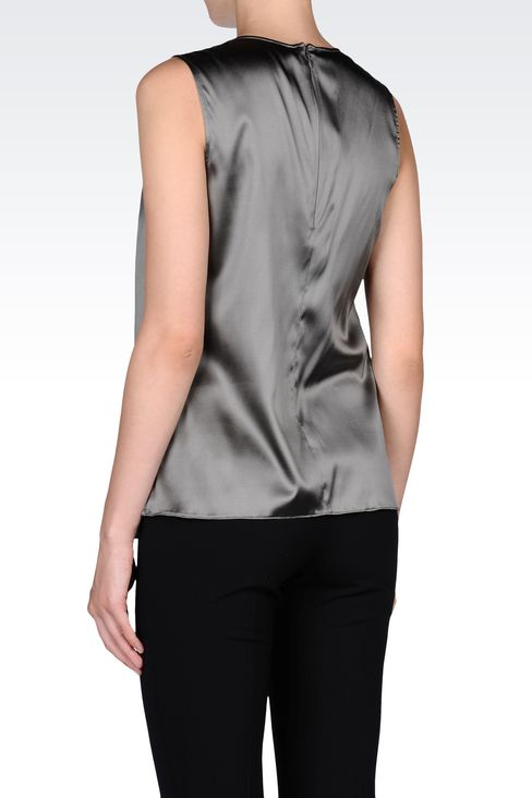 STRETCH SILK TOP WITH RUFFLE: Sleeveless tops Women by Armani - 3