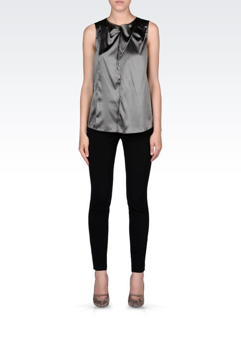 STRETCH SILK TOP WITH RUFFLE: Sleeveless tops Women by Armani - 1