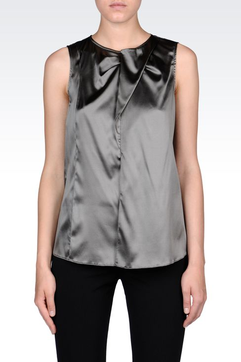STRETCH SILK TOP WITH RUFFLE: Sleeveless tops Women by Armani - 2