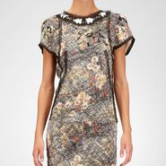 Silk Embroidered Necklace Scribble Floral Print Top - Sweater and top - BOTTEGA VENETA - PE13 - 2099