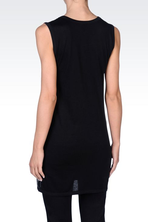 RHINESTONE-COVERED LONG JERSEY TOP: Tank tops Women by Armani - 3