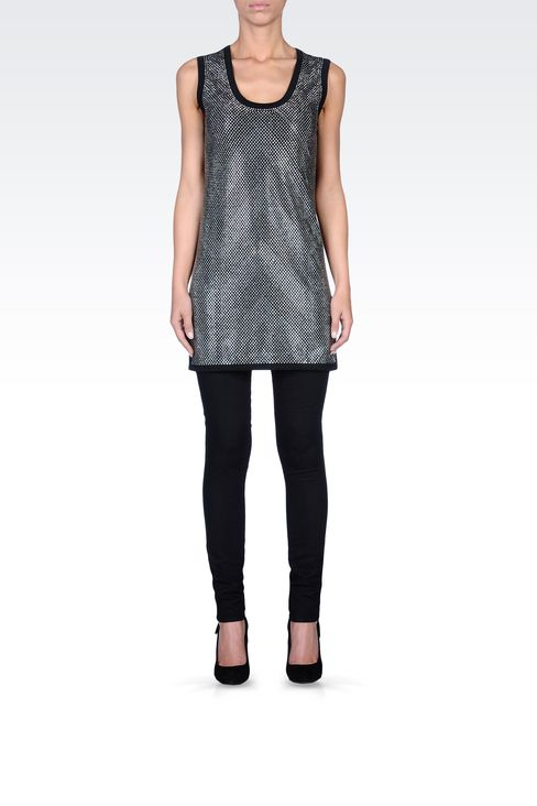 RHINESTONE-COVERED LONG JERSEY TOP: Tank tops Women by Armani - 1