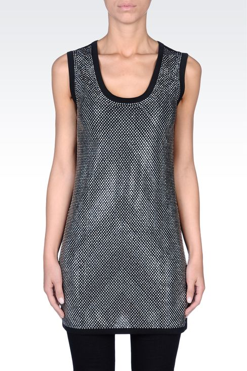 RHINESTONE-COVERED LONG JERSEY TOP: Tank tops Women by Armani - 2