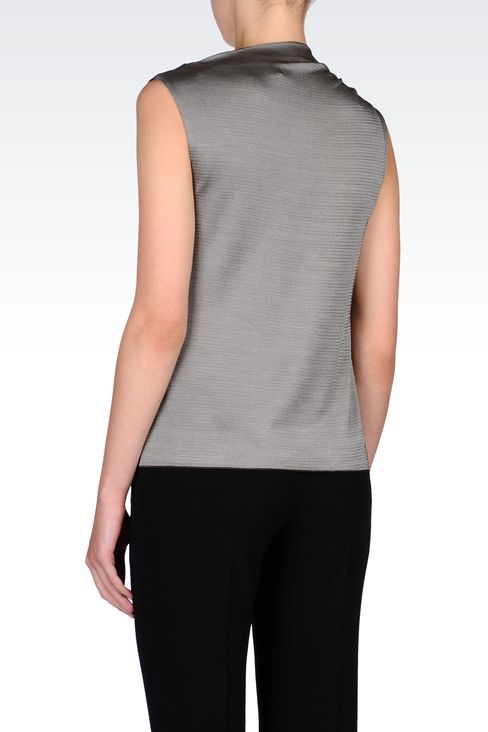 BLACK AND WHITE MICROPATTERNED TOP: Sleeveless tops Women by Armani - 3