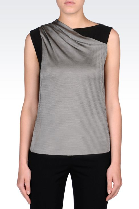 BLACK AND WHITE MICROPATTERNED TOP: Sleeveless tops Women by Armani - 2