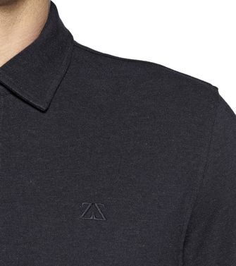 ZEGNA SPORT: Long-sleeved Polo Black - Steel grey - Blue - 37478964KU