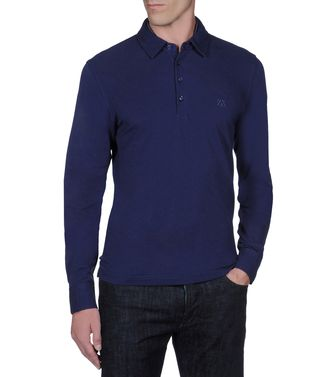 ZEGNA SPORT: Long-sleeved Polo Black - Steel grey - Blue - 37478964UR