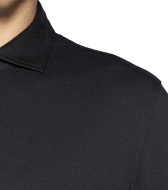 ERMENEGILDO ZEGNA: Long-sleeved Polo Black - Steel grey - Blue - 37479264IC