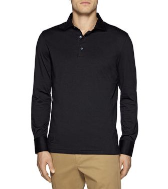 ERMENEGILDO ZEGNA: Long-sleeved Polo Black - Blue - Steel grey - 37479264IC