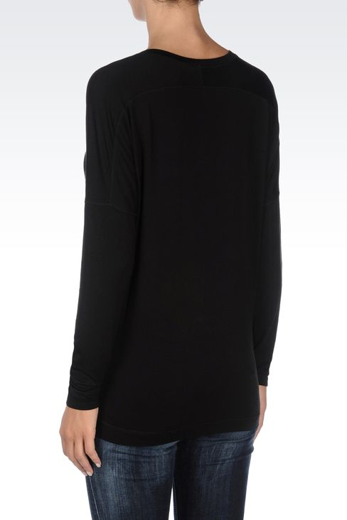 JERSEY T-SHIRT WITH SEQUINED LOGO: Print t-shirts Women by Armani - 3