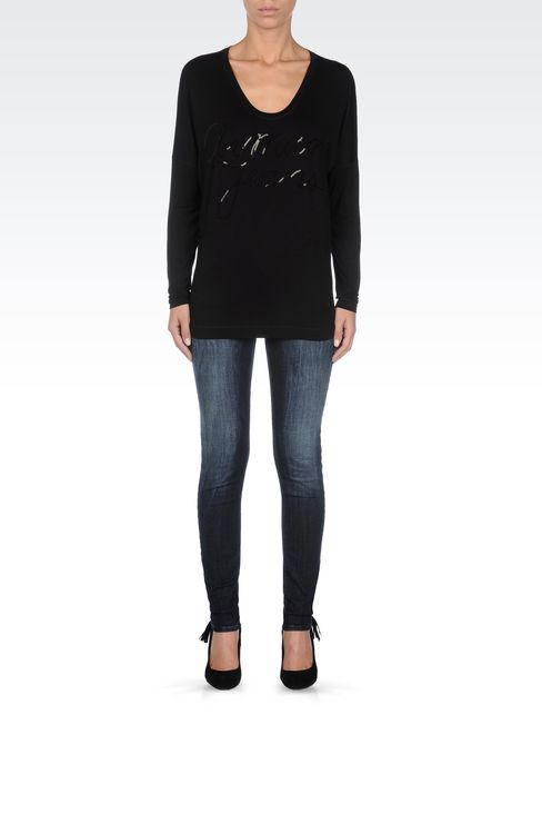 JERSEY T-SHIRT WITH SEQUINED LOGO: Print t-shirts Women by Armani - 1