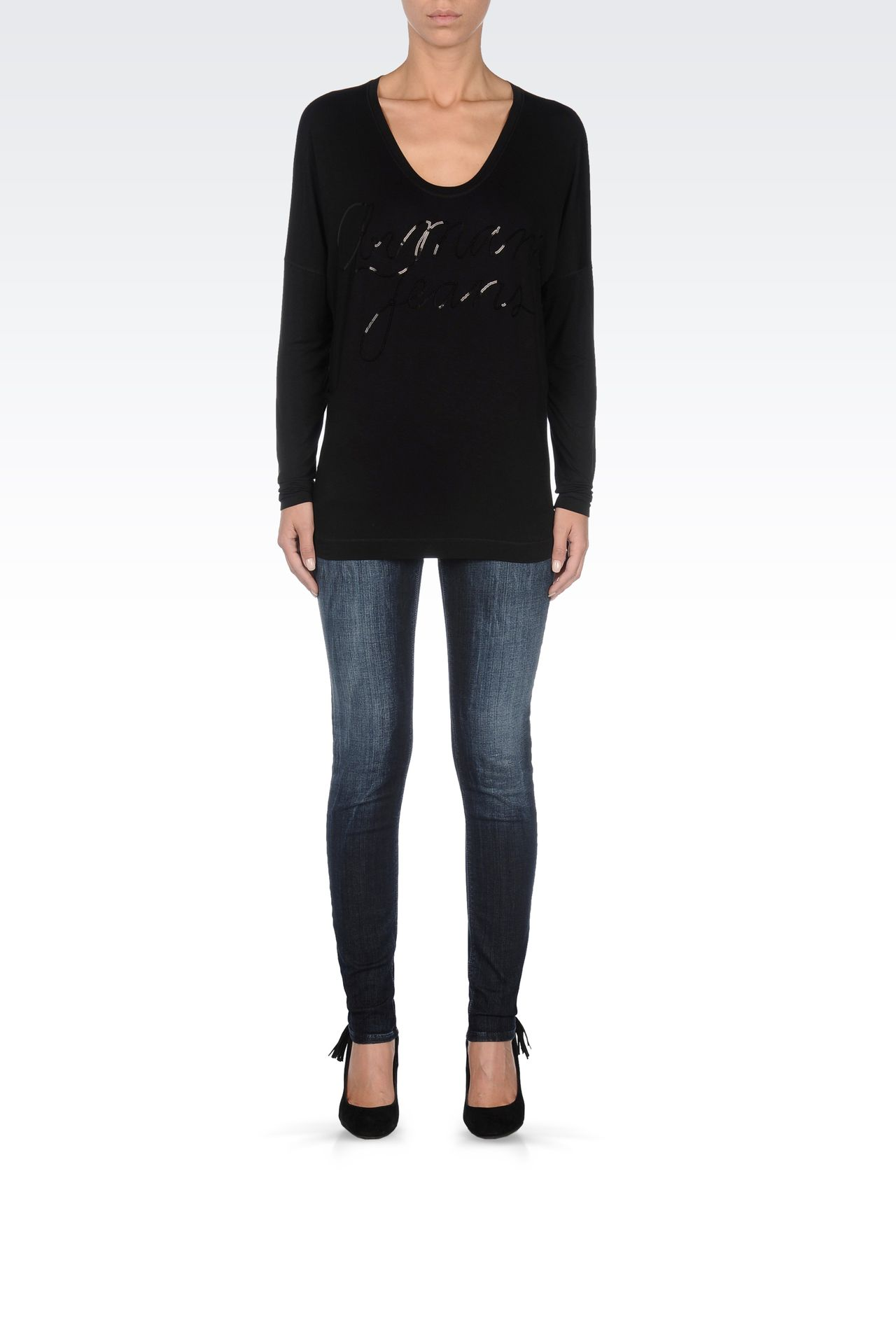 JERSEY T-SHIRT WITH SEQUINED LOGO: Print t-shirts Women by Armani - 0