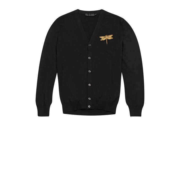 Alexander McQueen, Dragonfly Embroidered Black Cardigan
