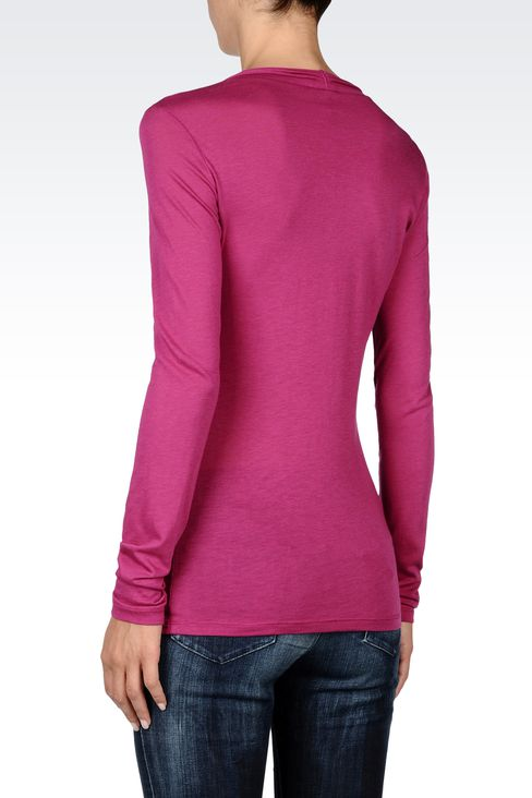 JERSEY T-SHIRT WITH PLEATED NECKLINE: Print t-shirts Women by Armani - 3