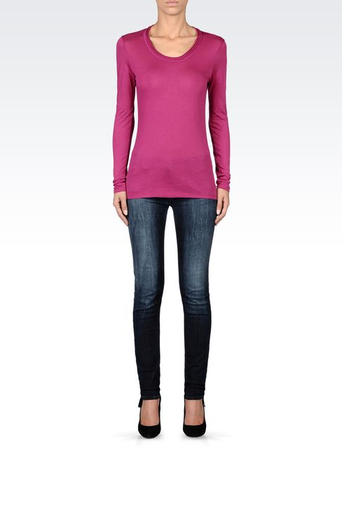 JERSEY T-SHIRT WITH PLEATED NECKLINE: Print t-shirts Women by Armani - 1