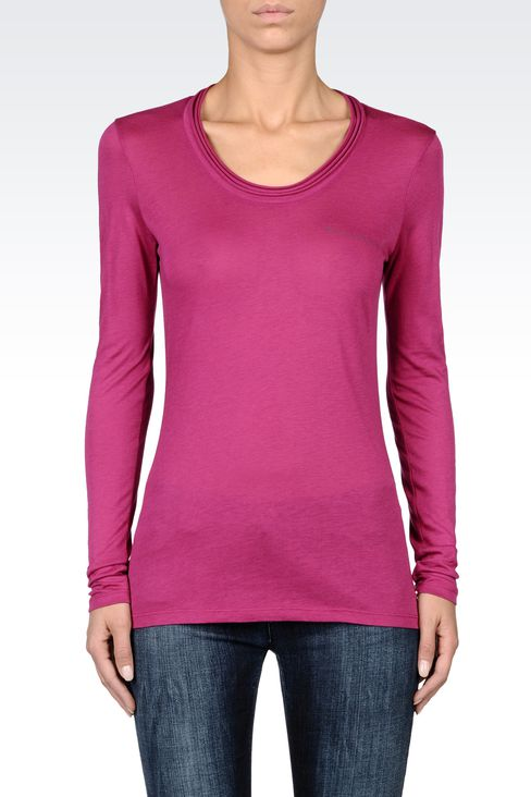 JERSEY T-SHIRT WITH PLEATED NECKLINE: Print t-shirts Women by Armani - 2