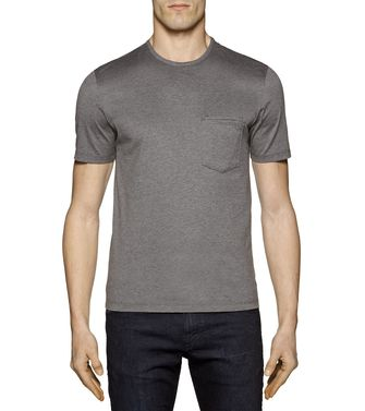 ZZEGNA: T-shirt  Bleu - Anthracite - 37481384TN