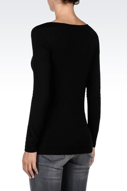 SEQUINED JERSEY T-SHIRT: Print t-shirts Women by Armani - 3