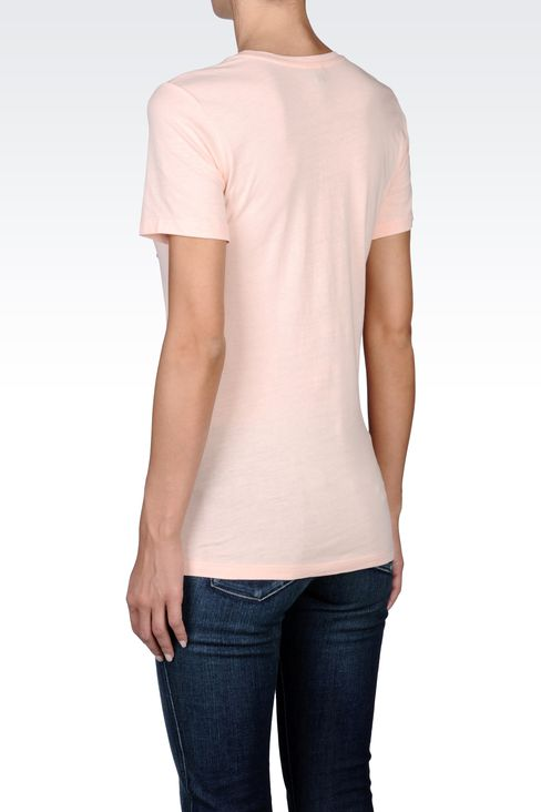 SEQUIN-PRINT COTTON T-SHIRT: Print t-shirts Women by Armani - 3