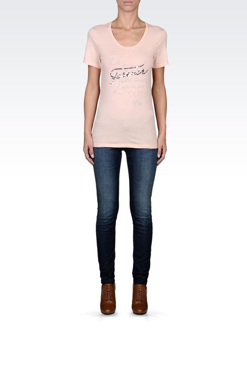 SEQUIN-PRINT COTTON T-SHIRT: Print t-shirts Women by Armani - 1