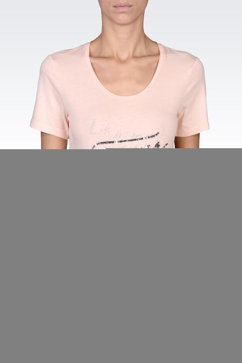 SEQUIN-PRINT COTTON T-SHIRT: Print t-shirts Women by Armani - 2