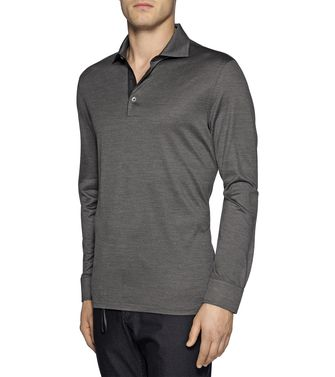 ERMENEGILDO ZEGNA: Long-sleeved Polo Steel grey - 37485112WI