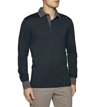 ERMENEGILDO ZEGNA: Long-sleeved Polo Black - Steel grey - Blue - 37485833AL