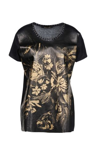 Short sleeve t-shirt - ROBERTO CAVALLI - 92% Modal, 8% Elastane, Calf-skin leather