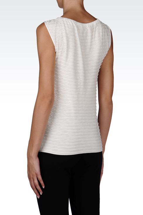 VISCOSE TOP WITH LUREX EMBROIDERY: Sleeveless tops Women by Armani - 3