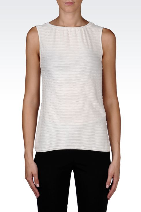 VISCOSE TOP WITH LUREX EMBROIDERY: Sleeveless tops Women by Armani - 2