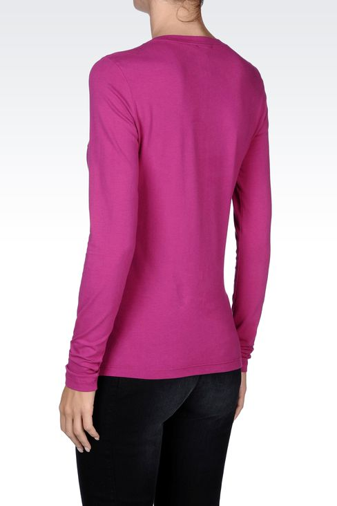 COTTON T-SHIRT WITH SEQUINED LOGO: Print t-shirts Women by Armani - 3