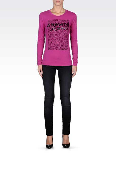 COTTON T-SHIRT WITH SEQUINED LOGO: Print t-shirts Women by Armani - 1