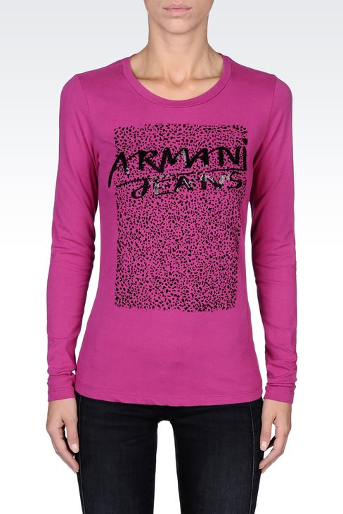 COTTON T-SHIRT WITH SEQUINED LOGO: Print t-shirts Women by Armani - 2