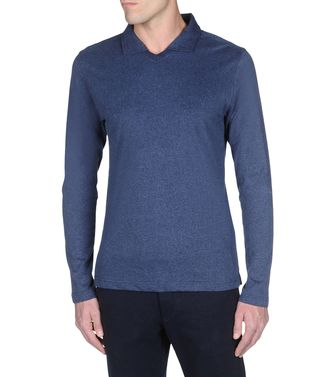 ZEGNA SPORT: Long-sleeved Polo Black - Blue - Steel grey - 37492972TW