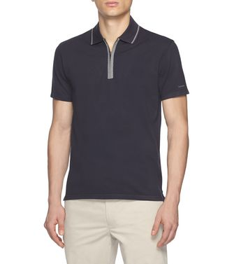 ZEGNA SPORT: Short-sleeved Polo Blue - Steel grey - 37516243QM