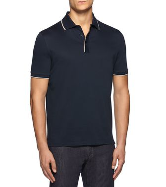ERMENEGILDO ZEGNA: Short-sleeved Polo Azure - 37517806WH